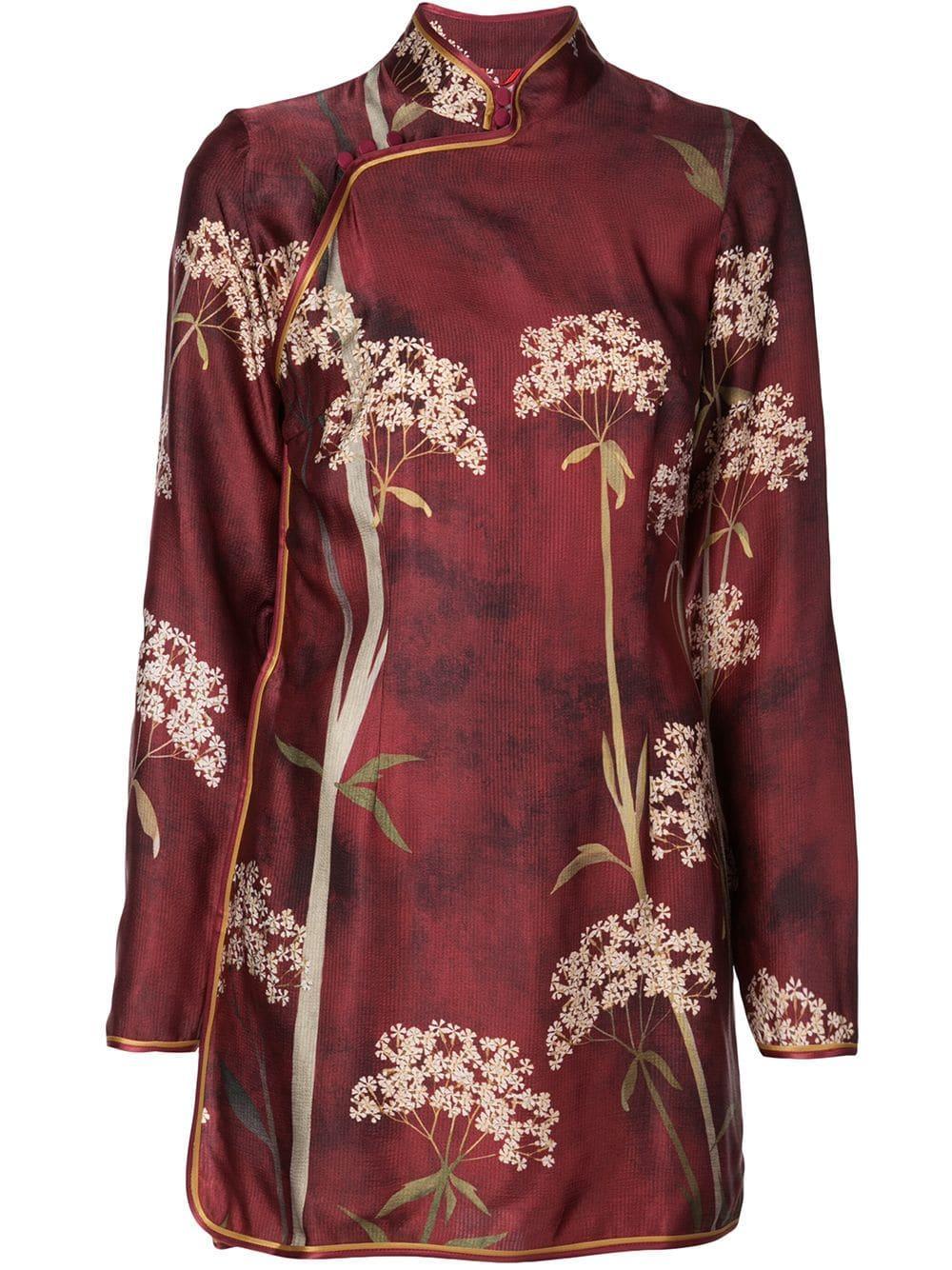Menezio Long Sleeve Short Chinese Dress