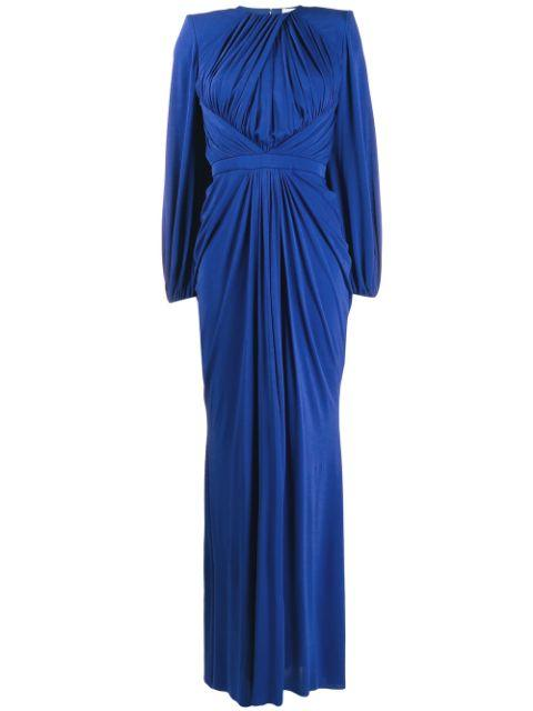 Long Sleeve Embroidery Drape Long Gown With Open Back