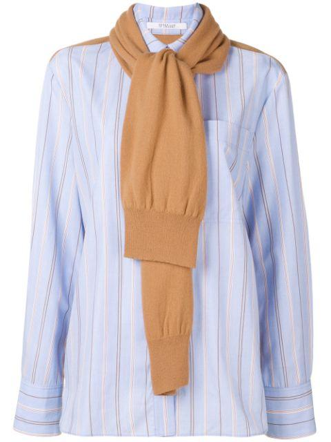 Long Sleeve Button Down Shirt With Knit Scarf Combo