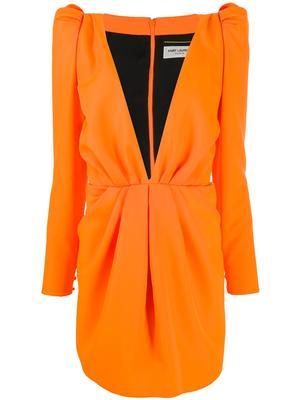Long Sleeve  V-Neck short Dress With Strong Shoulder
