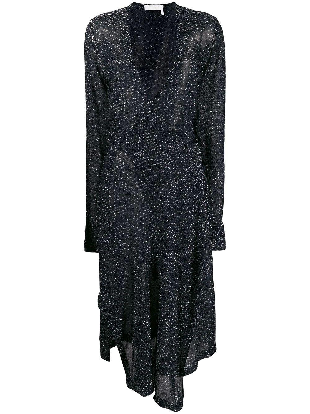 Long Sleeve Lurex Knit Wrap Midi Dress