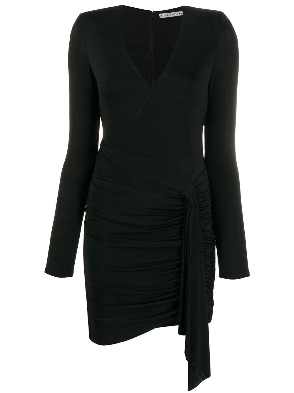 Kyra Deep V Drapey Long Sleeve Mini Dress