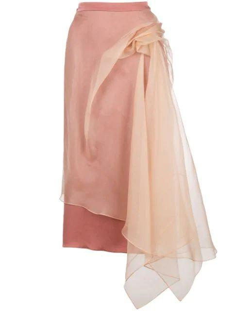 Nadine Light- Weight Crepe Bunched Skirt Item # 13GH7025-S82185LRM