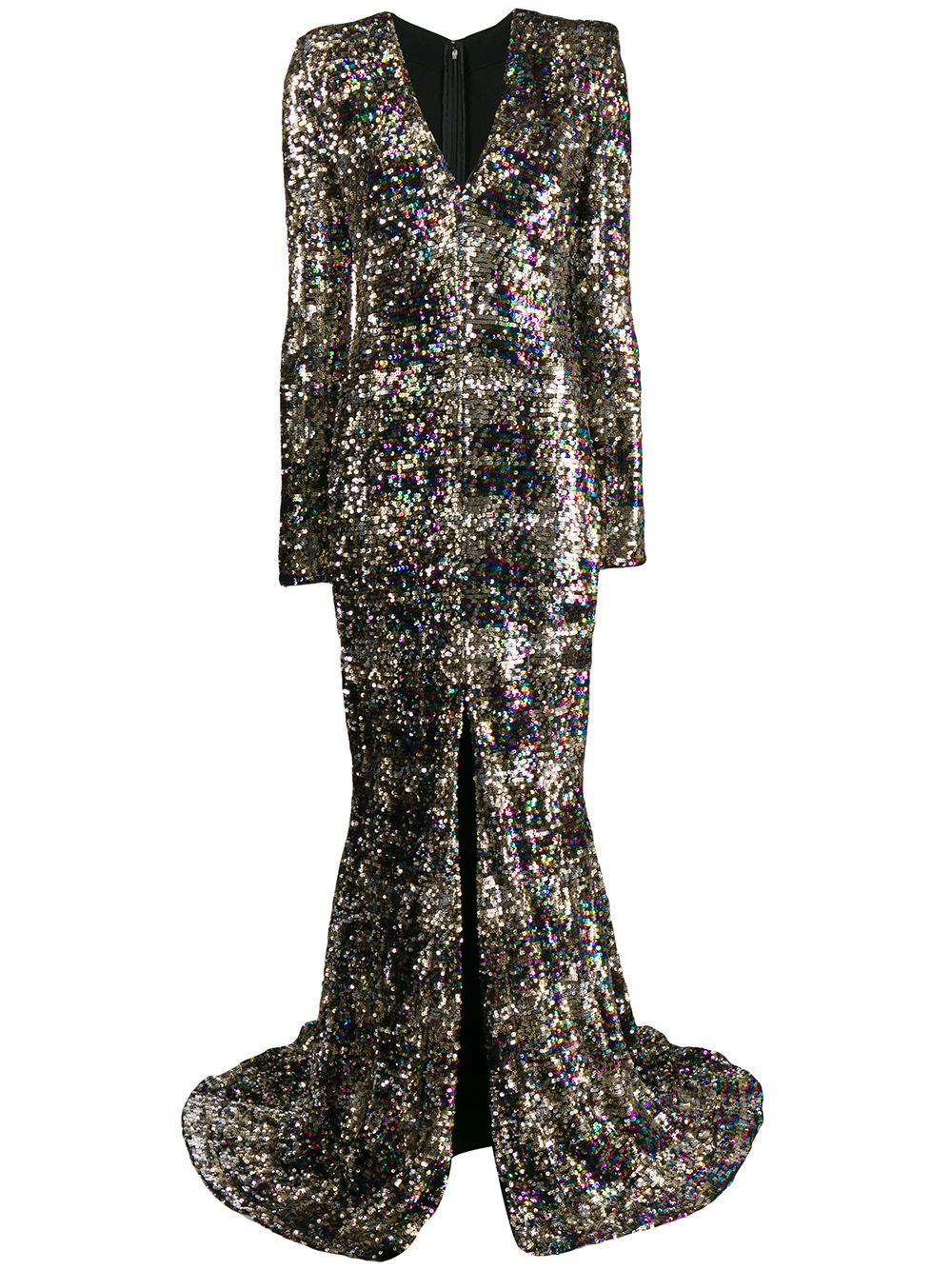 Long Sleeve Patina Sequin Plaid V-Neck Gown