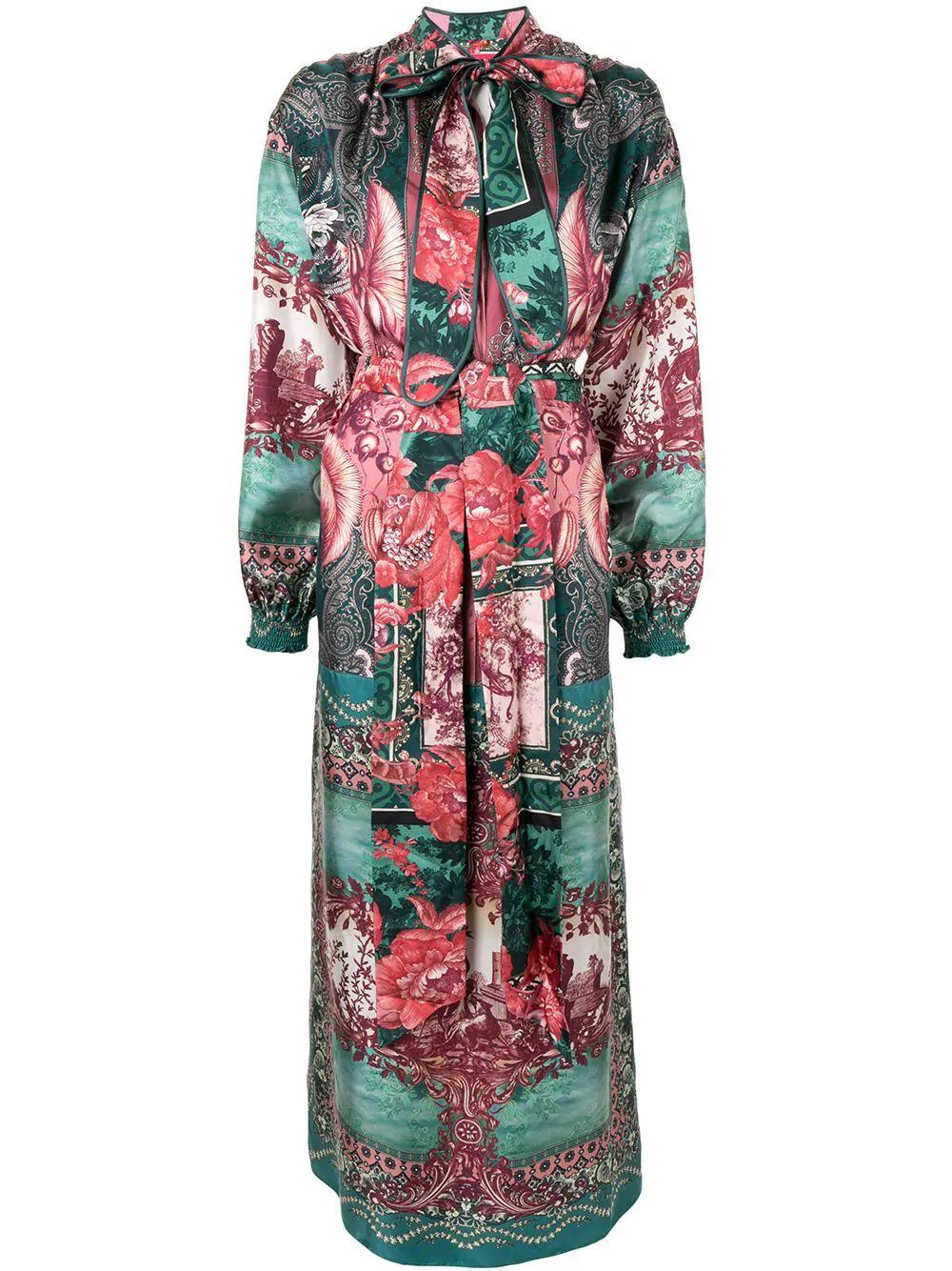 Brizio Long Sleeve Print Maxi With Neck Tie