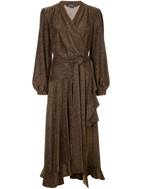 Metallic Mesh high Low Wrap Dress