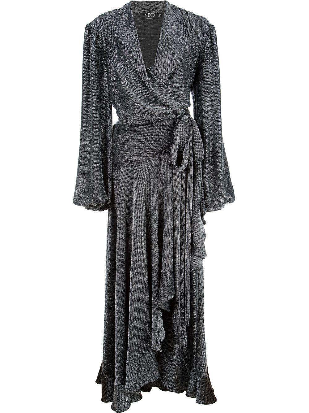 Metallic Mesh High Low Wrap Dress Item # VES2163CUS