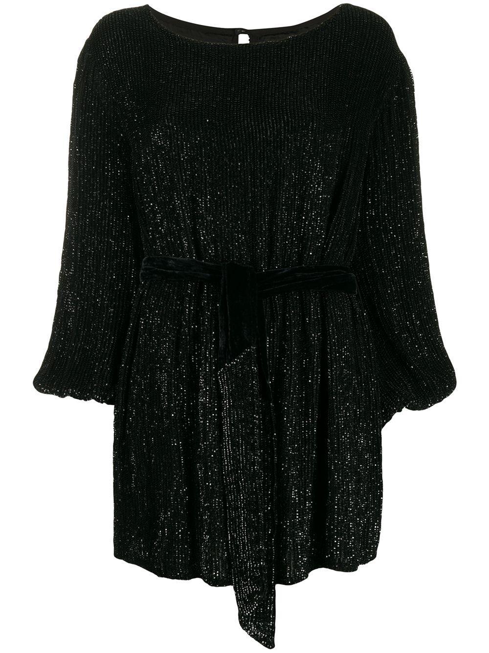 Grace Long Sleeve Bateau Neck Mini Dress With Belt