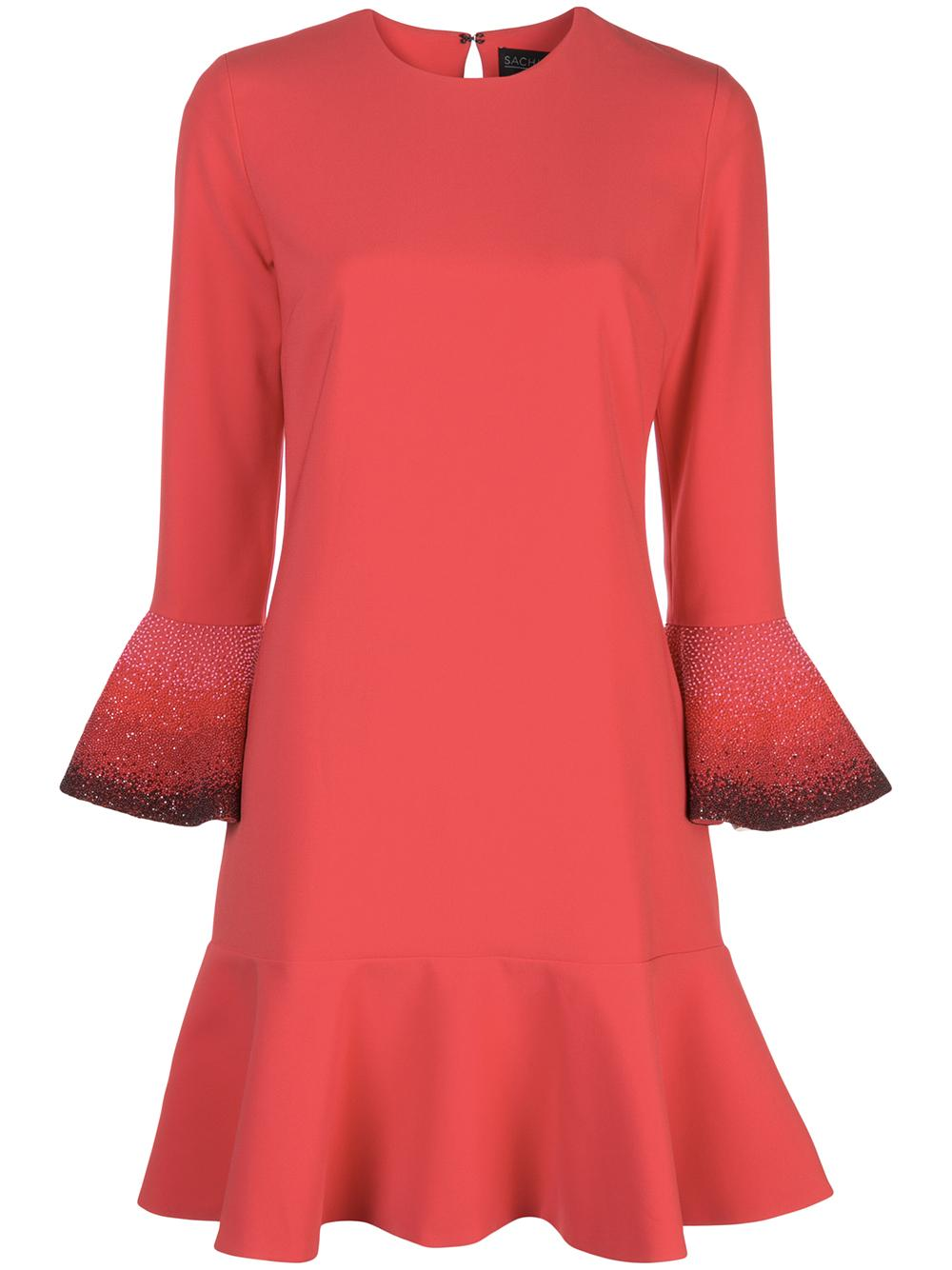 Madeleine Jewel Neck 3/4 Sleeve Shift Dress Item # T19D23