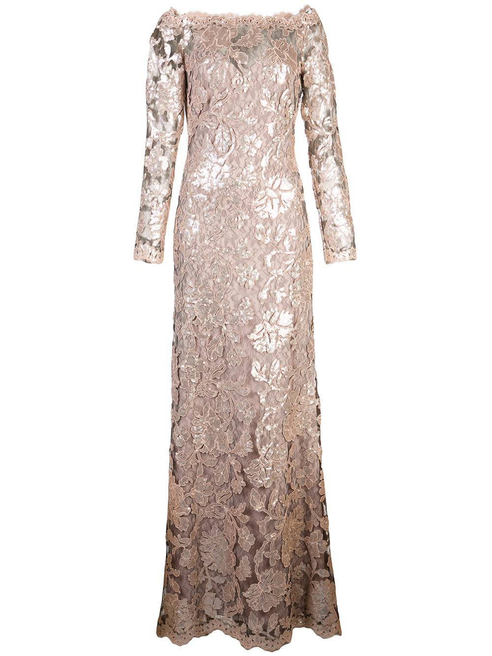 Long Sleeve Lace Embroider Gown