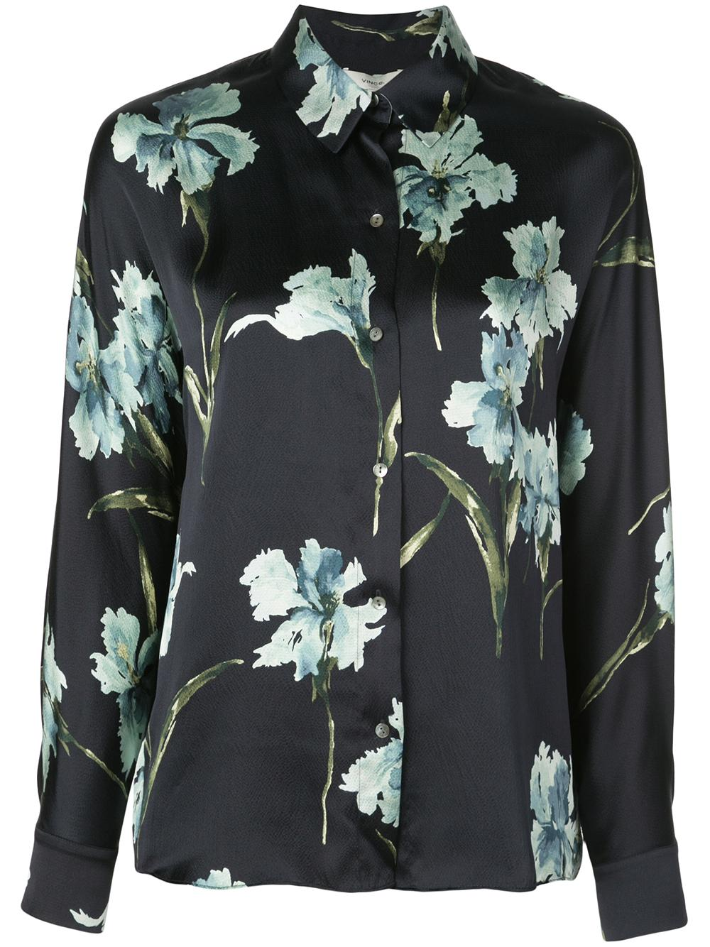Iris Flower Print Long Sleeve Button Down Blouse