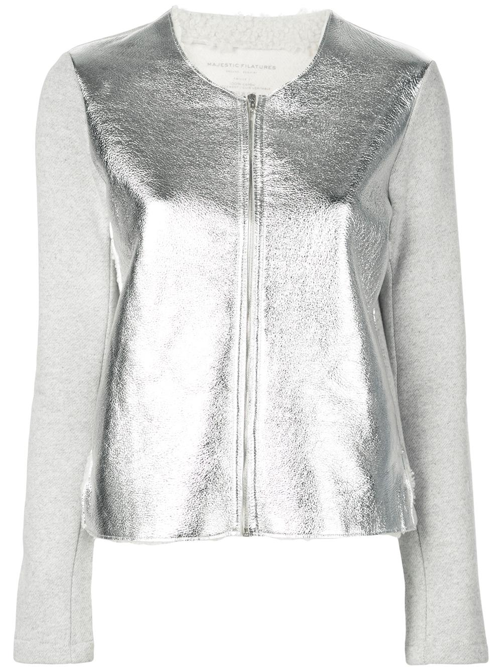 Long Sleeve Jacket Metallic Leather