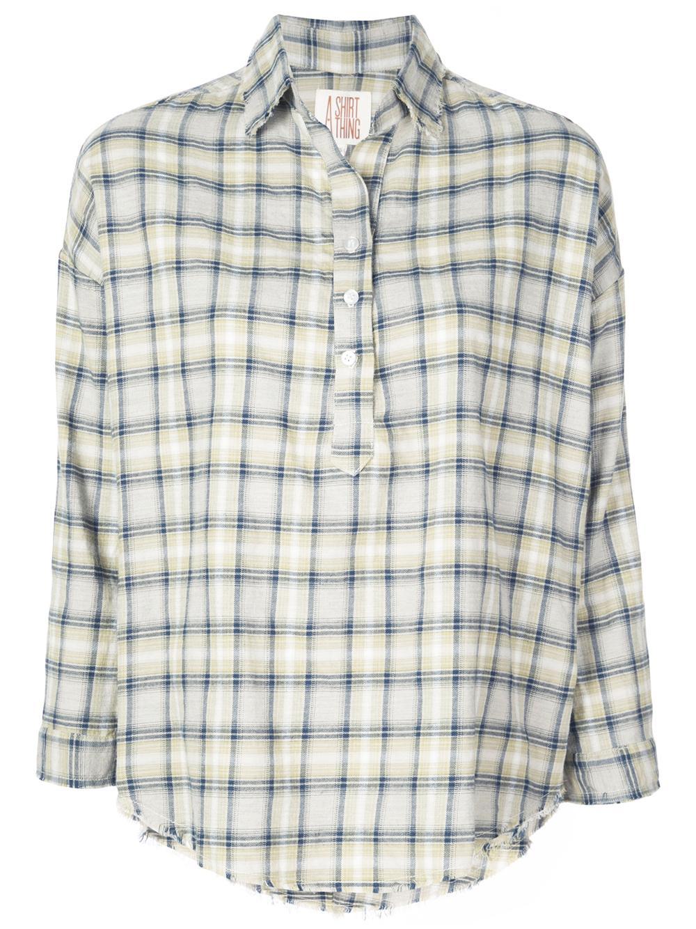 Diego Plaid Twill Raw Hem Button Up Shirt