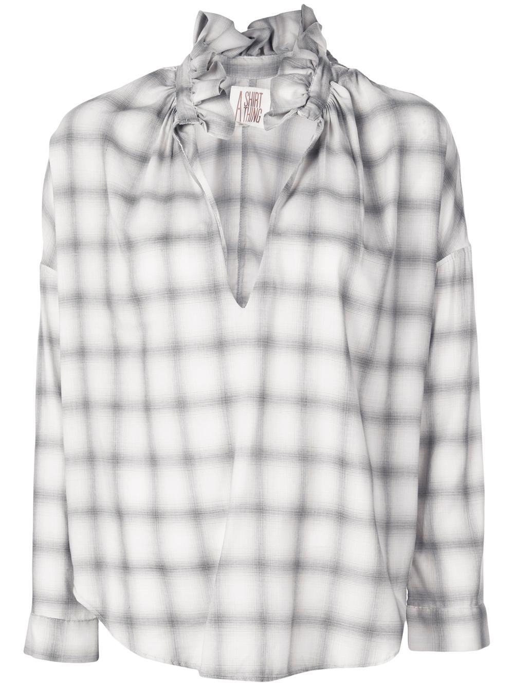 Penelope Soft Plaid Shirt Soft Ruffle Collar