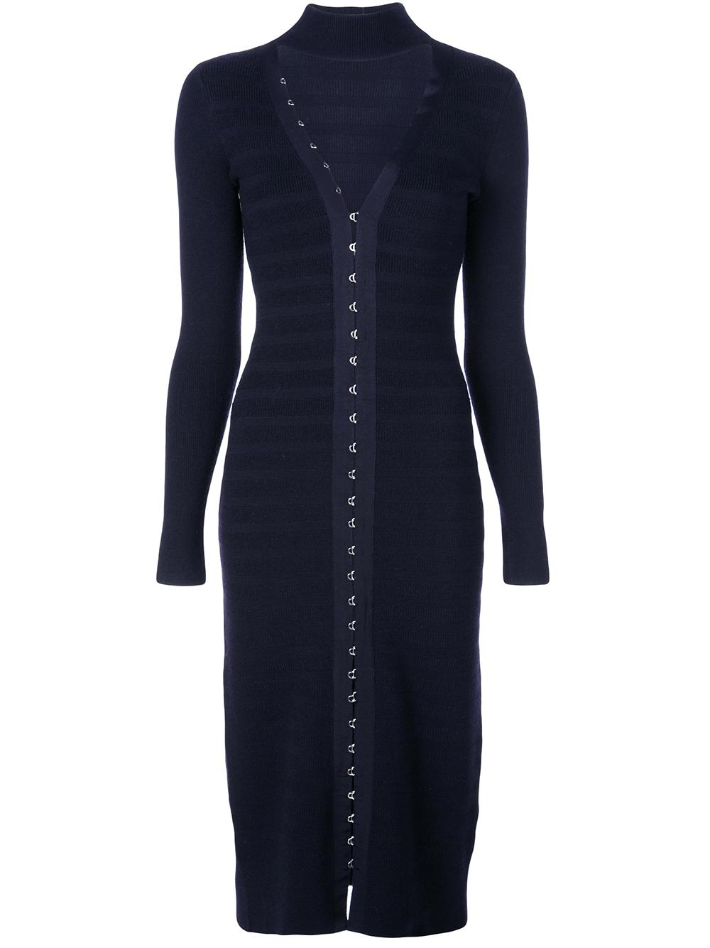 Long Sleeve Textured Hook Eye Slit Front Dress