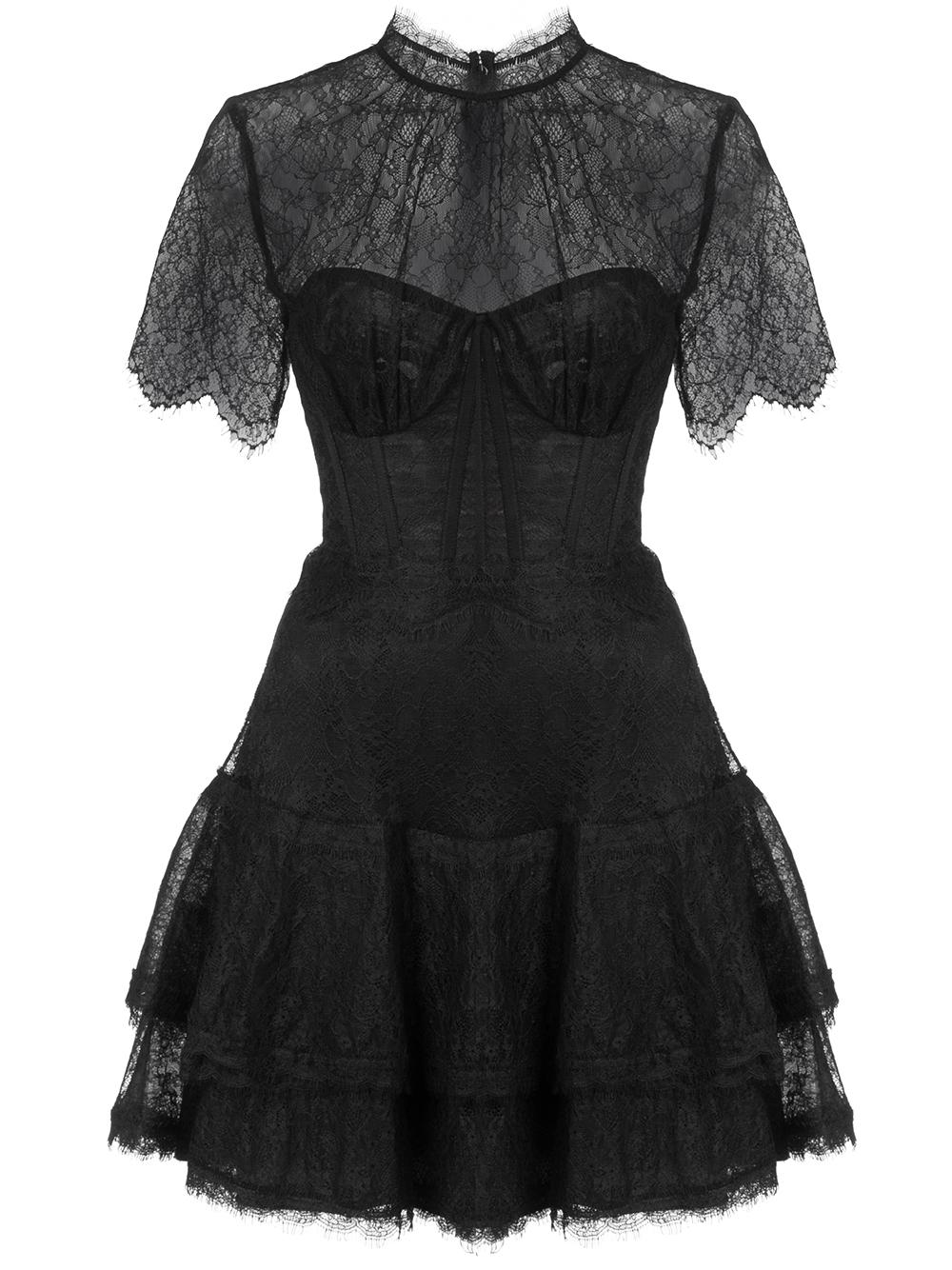 Short Sleeve Mixed Lace Bustier Mini Ruffle Dress