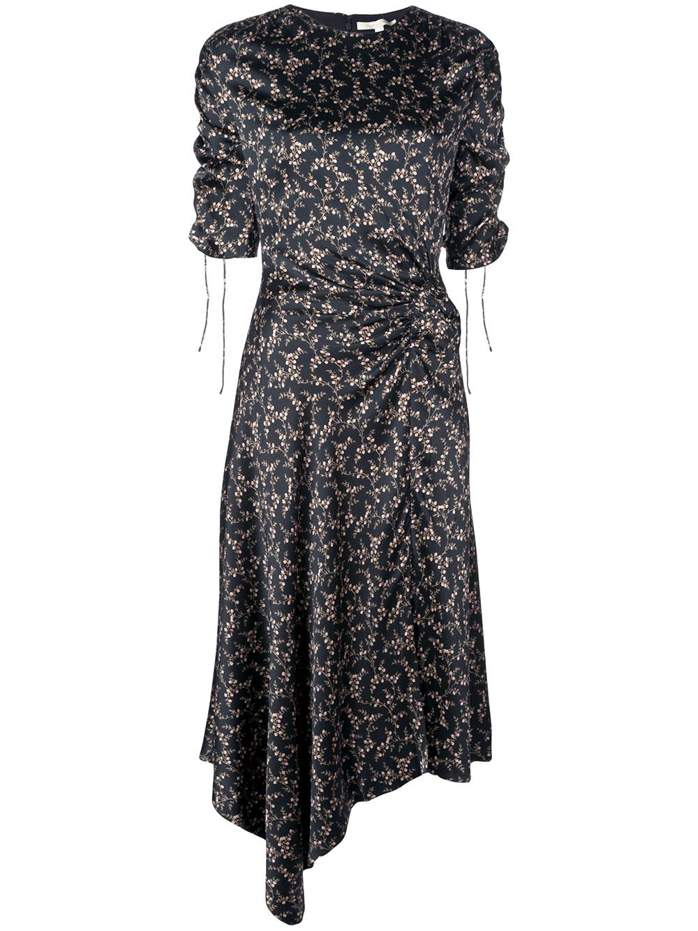 Hammered Silk Ruched Sleeve Dress