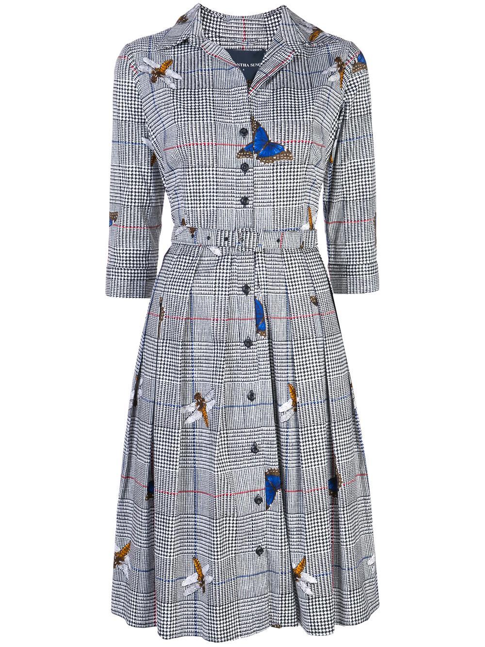 Audrey 1 Shirt Collar 3/4 Sleeve Dress