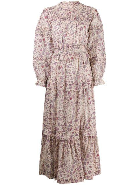 Long Sleeve Printed Cotton Dress with Trade Skrit