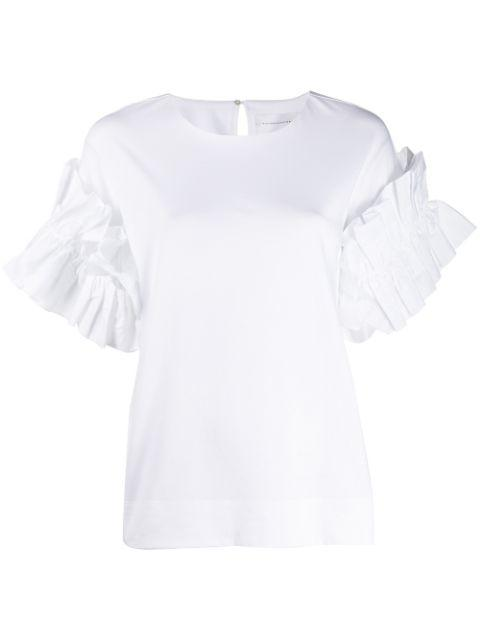 Ruffle Sleeve Cotton Tee Item # 2419JTS000360A