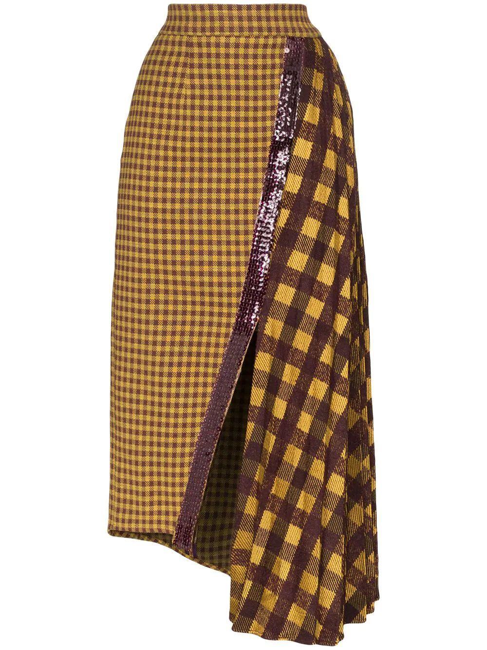 Check Midi Skirt With Slits Item # DOLLY-SKIRT