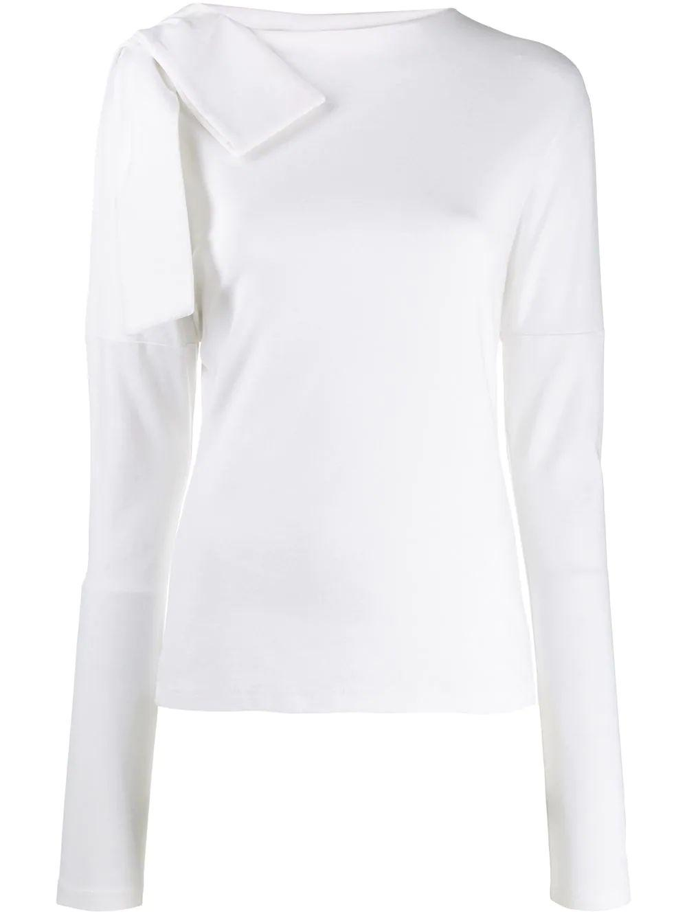 Long Sleeve Bow Shoulder Cotton Tee