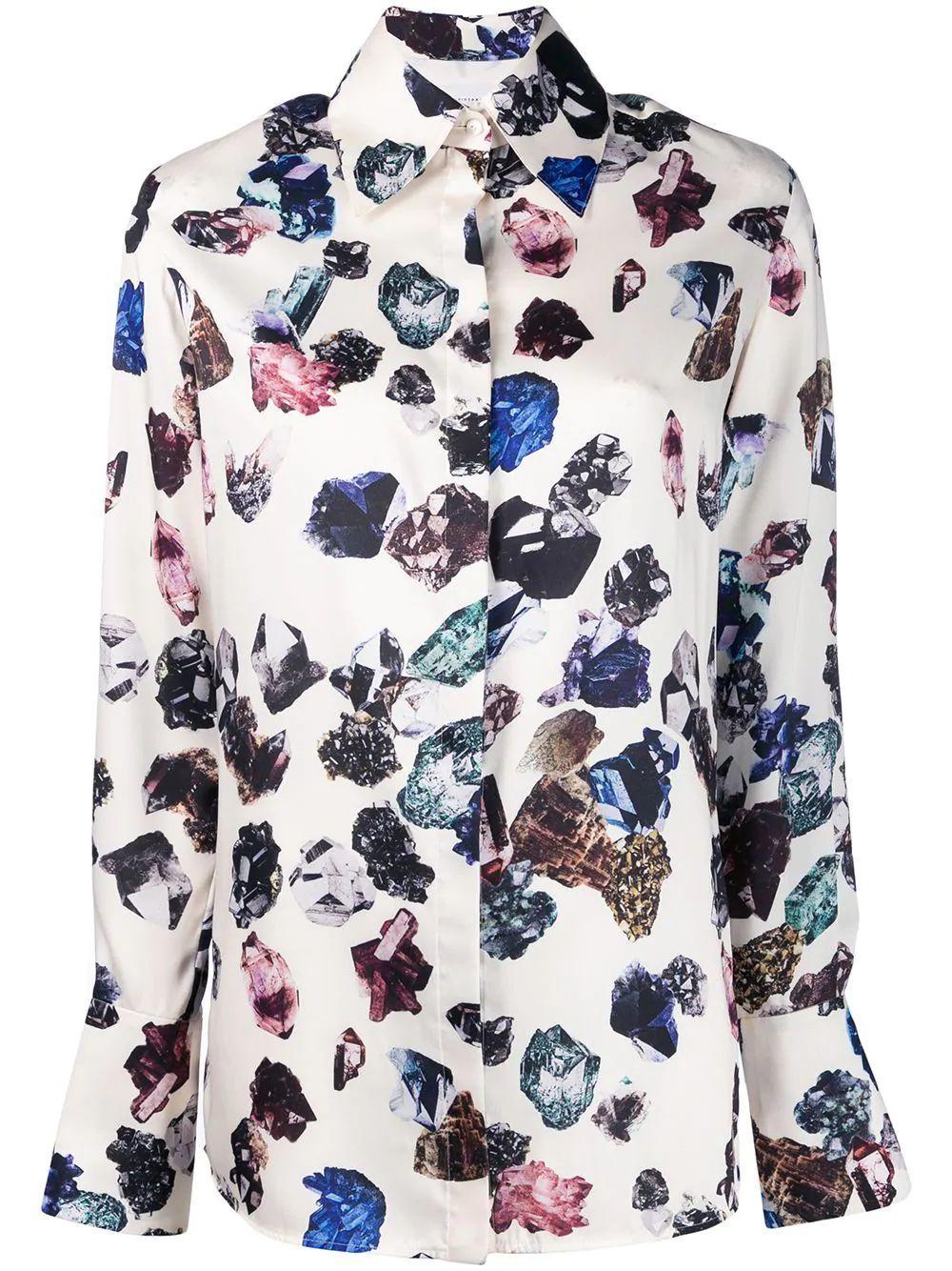 Long Sleeve Crystal Printed Twill Shirt