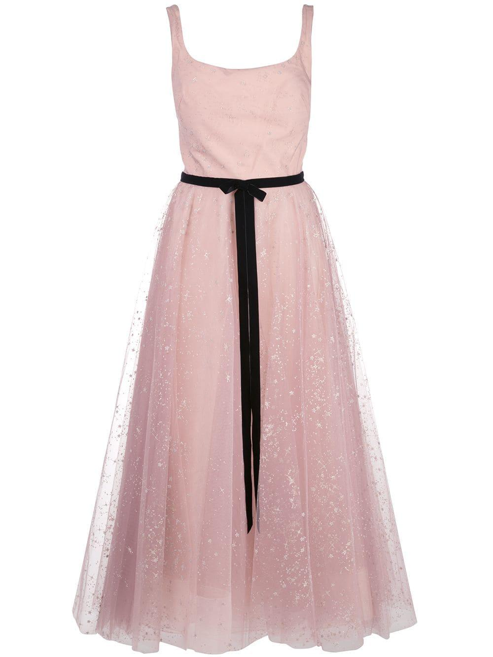 Sleeveless Glitter Tulle Tea Length Gown