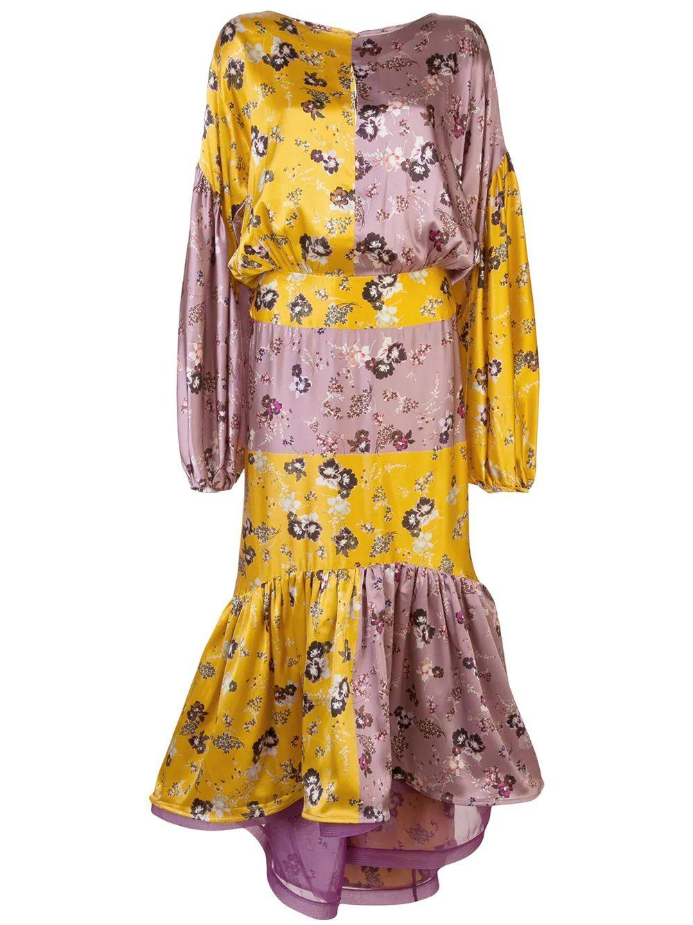 Long Sleeve Floral Patchwork Dress Item # DALIT-DRESS