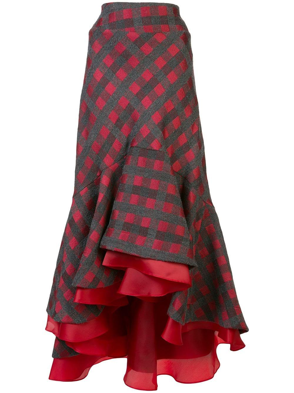 Checked Ruffle Hilo Skirt Item # DALLAS-SKIRT