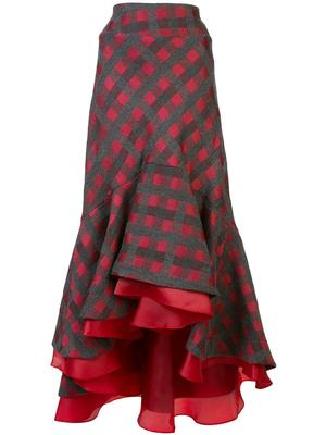 Checked Ruffle HiLo Skirt