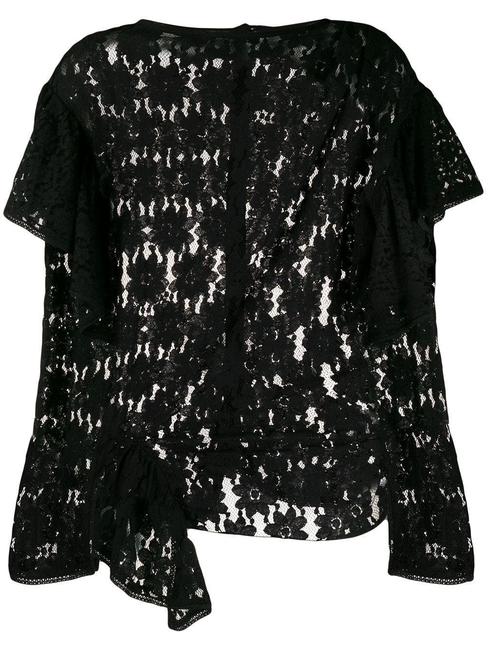 Long Sleeve Draped Lace Top Item # VINNY