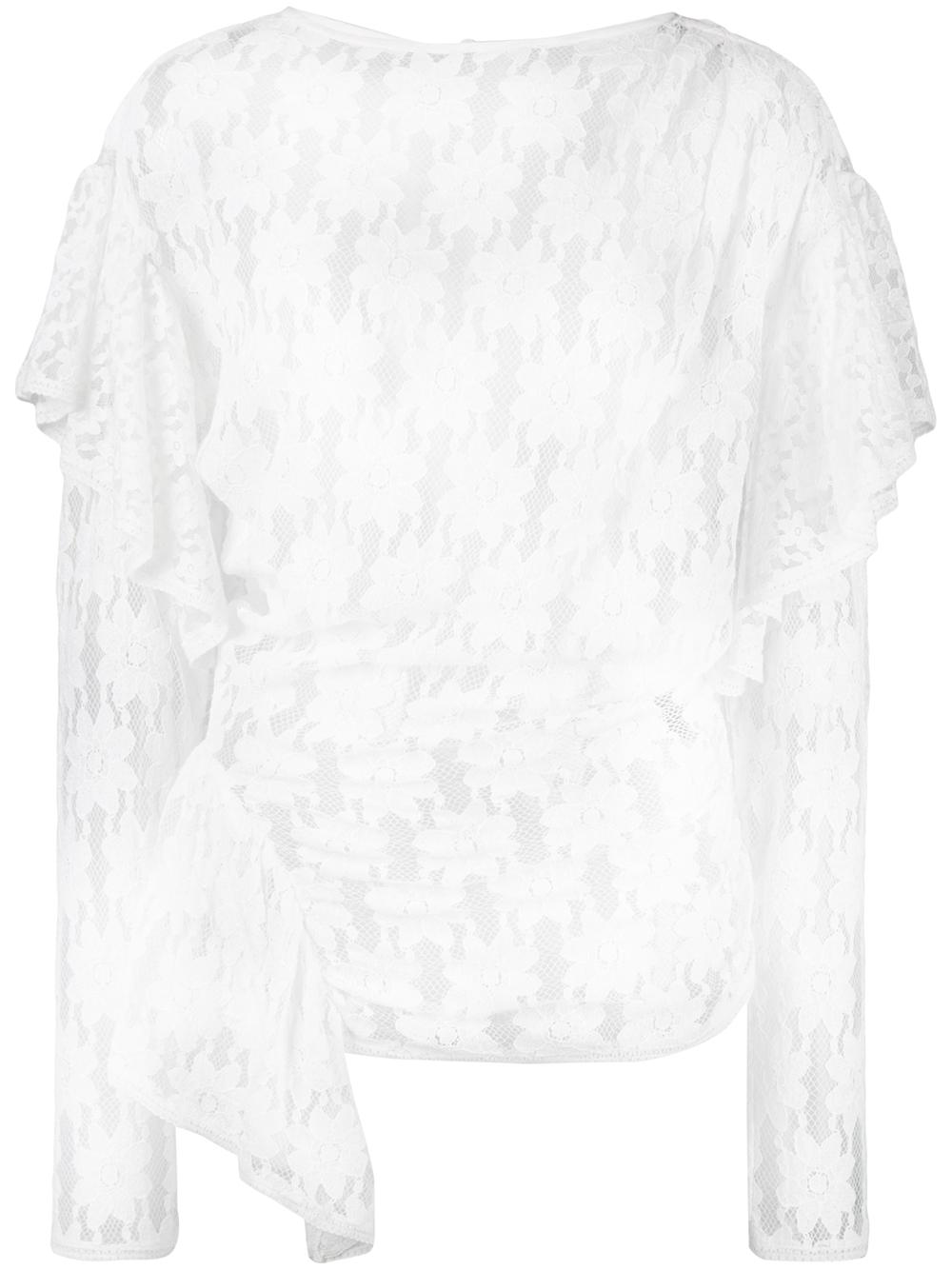 Long Sleeve Draped Lace Top