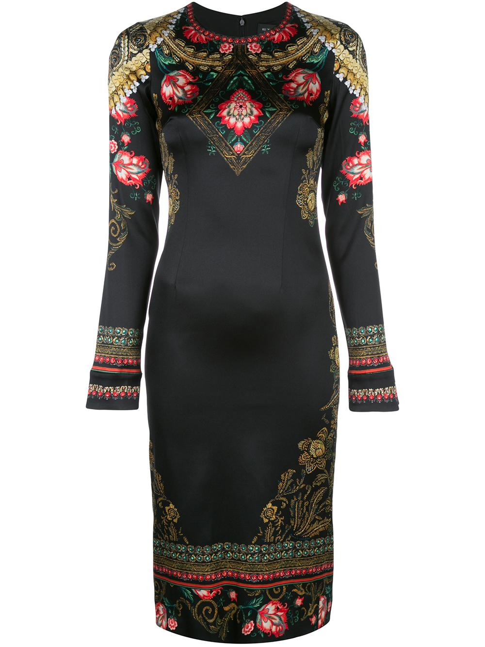 Long Sleeve Satin Slim Dress With Floral Top Item # 17818-5224