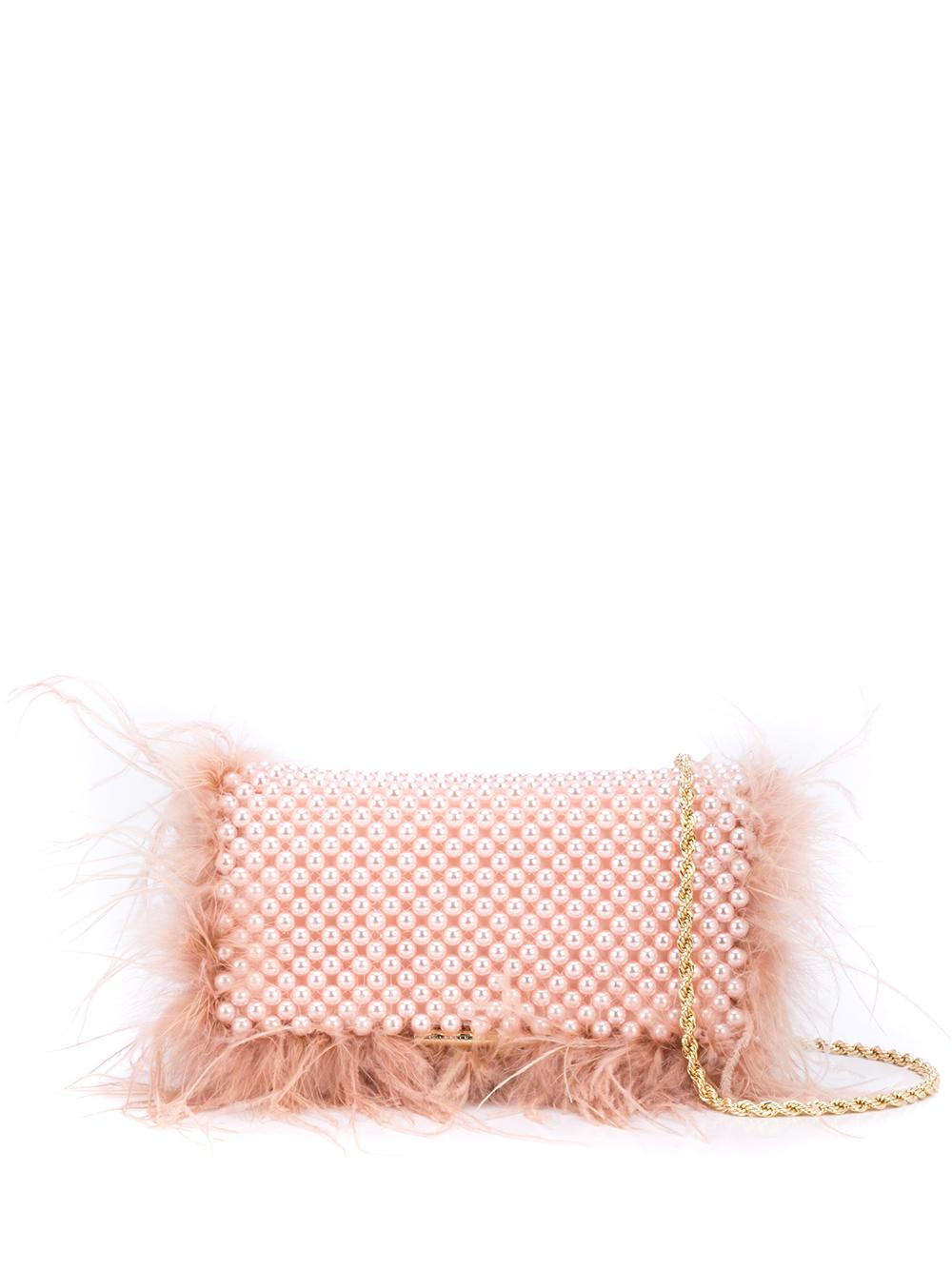 Mmi Beaded Clutch Feather