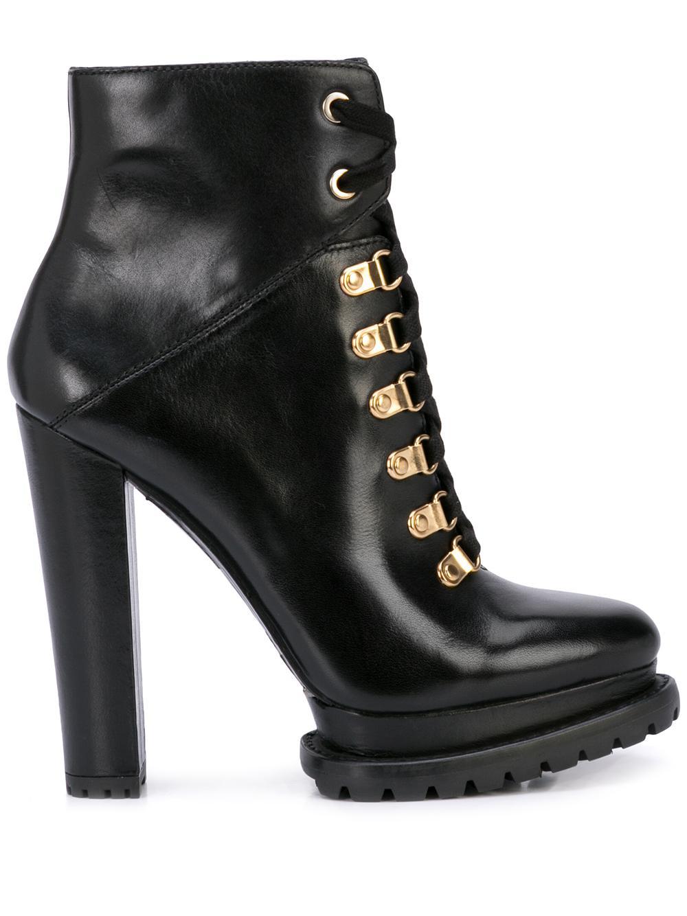 Leather Lace Up Bootie W/Block Heel Item # JESNA