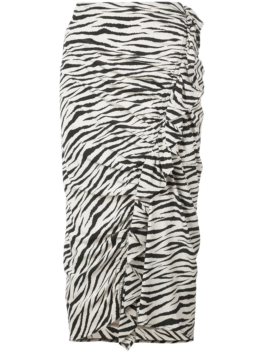 Metz Tiger Print Ruffle Fitted Pencil Skirt