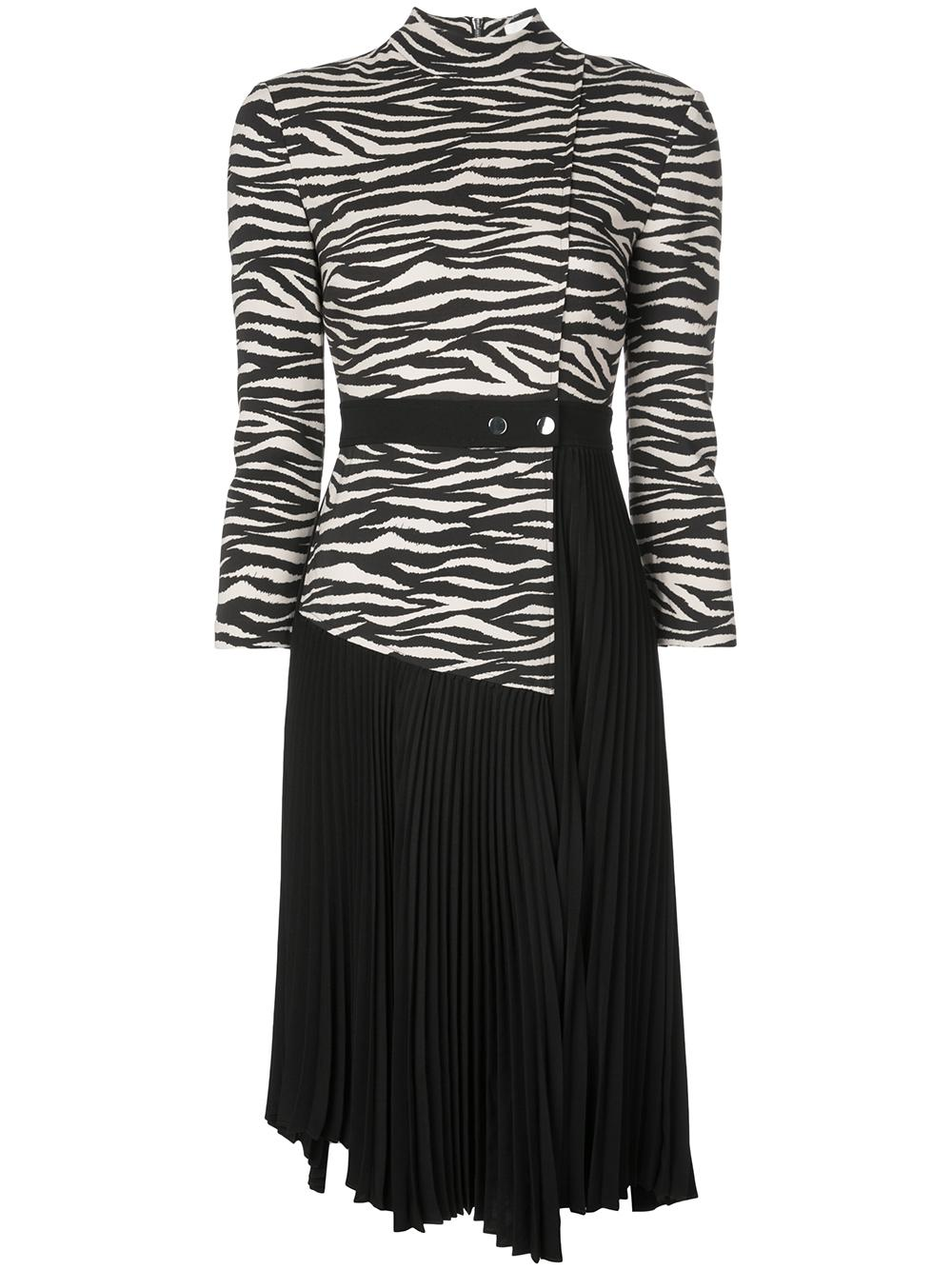 Peyton Tiger Belted Pleated Dress