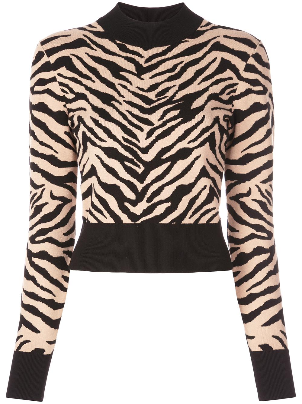 Lola Tiger Print Mock Neck Sweater