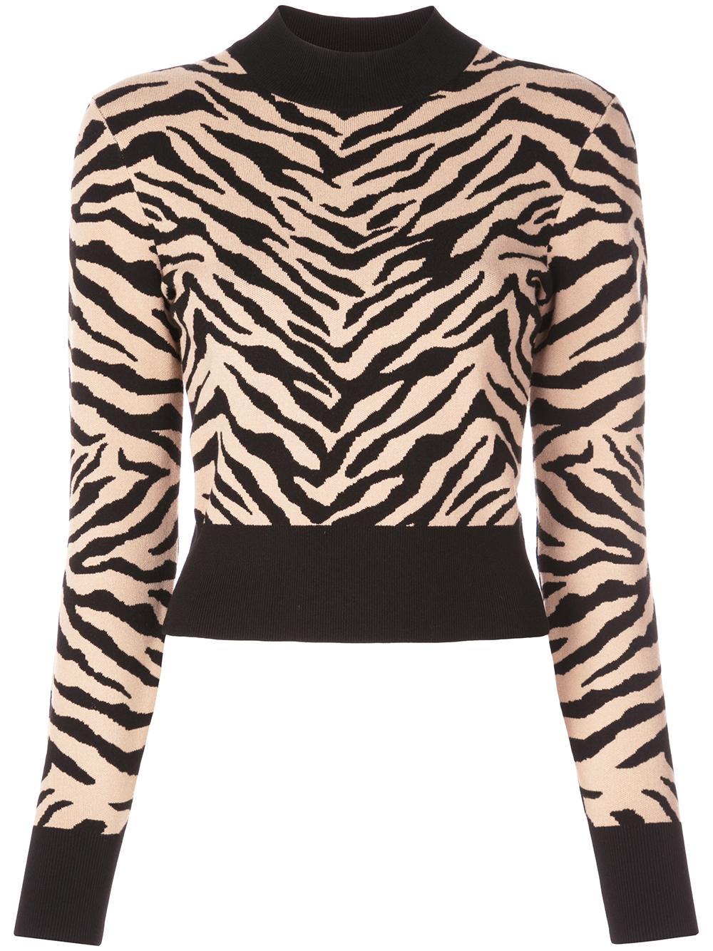 Lola Tiger Print Mock Neck Sweater Item # 7SWPO00426