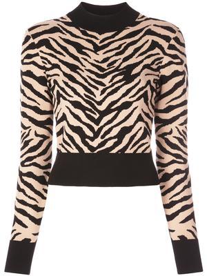 Lola Tiger Print Mock Neck Sweater