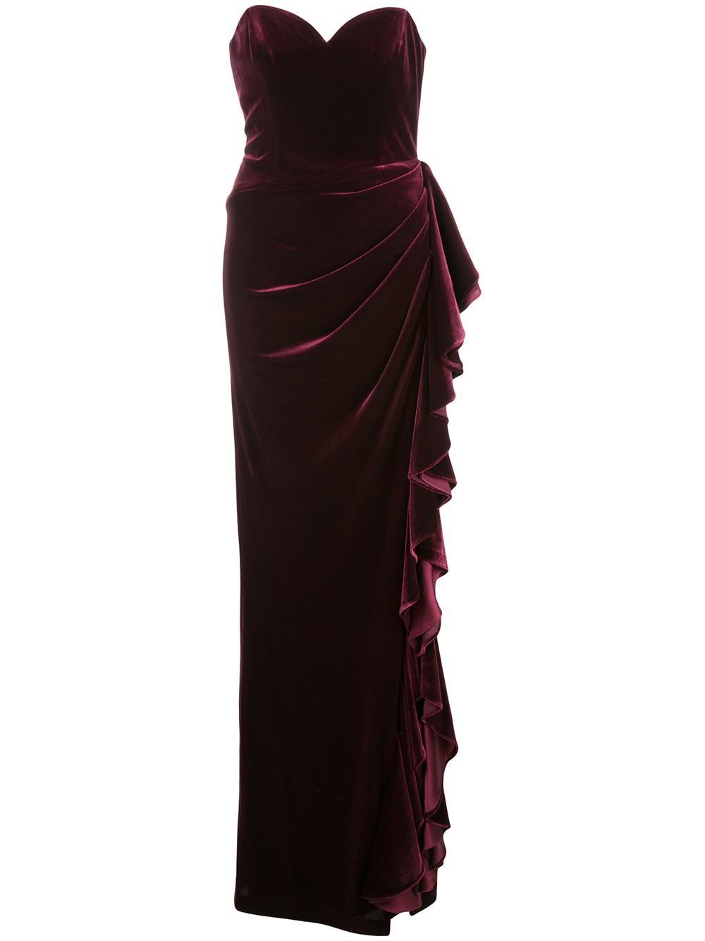 Strapless Velvet Ruffle Gown