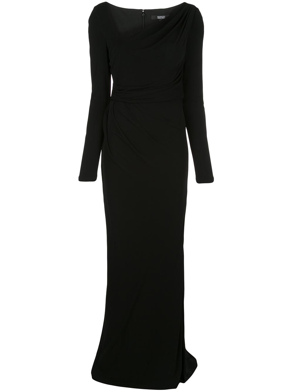 Long Sleeve Draped Jersey Gown
