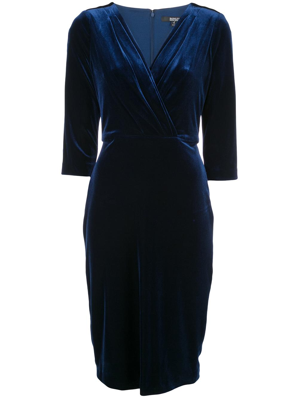 Front Drape Velvet Cocktail Dress