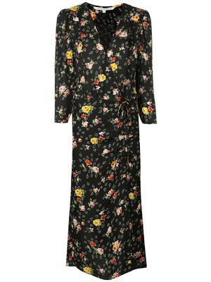 ARIELLE 3/4 Sleeve V-Neck Floral Midi Dress