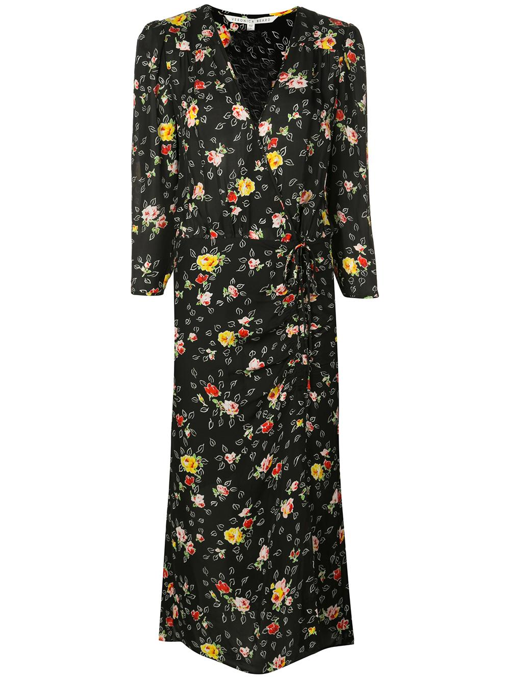 ARIELLE 3/4 Sleeve V-Neck Floral Midi Dress