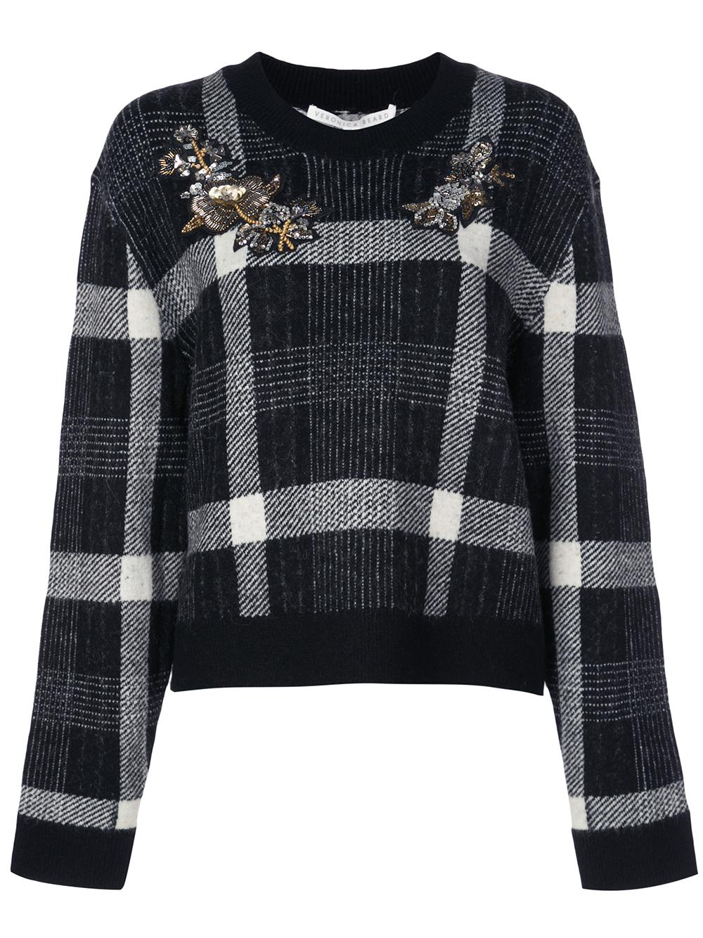 Deana Plaid Sweater With Embroidery Item # 1908KN40109340