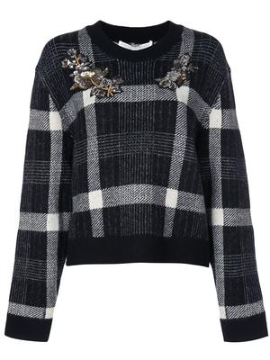 Deana Plaid Sweater With Embroidery