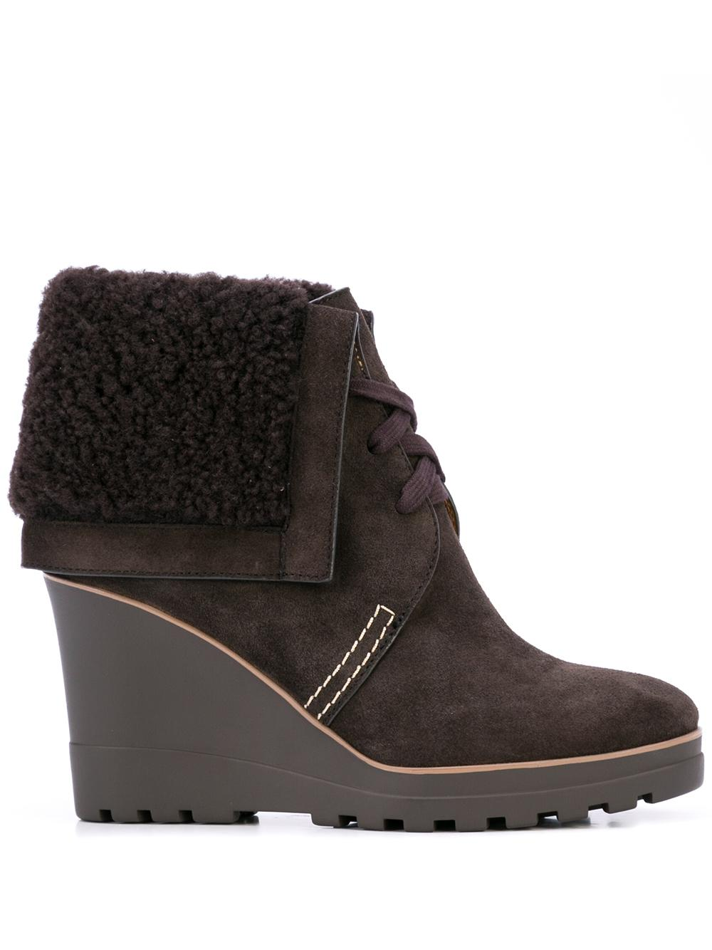 Suede Wedge Bootie With Shearling