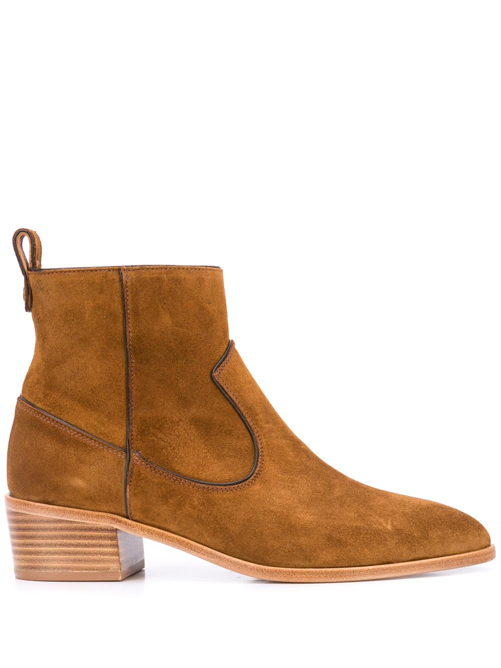 Suede Zip Bootie With Block Heel